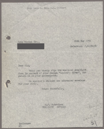 Related object: Letter; from Harold Hutchison to John Minton requesting him to sign the copyright form, 26 May 1951