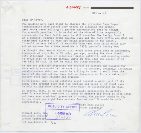 Related object: Letter; from Abram Games to Michael Levey about Hans Unger exhibition, 4 May 1976