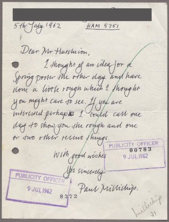 Related object: Letter; from Paul Millichip to Harold Hutchison about a poster design, 5 July 1962
