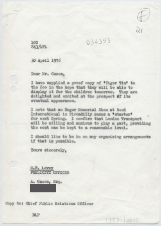 Related object: Letter; from Michael Levey to Abram Games about Hans Unger exhibition, 30 April 1976