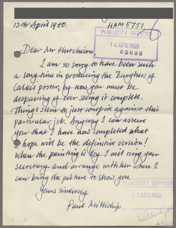Related object: Letter; from Paul Millichip to Harold Hutchison about his poster design, 13 April 1960