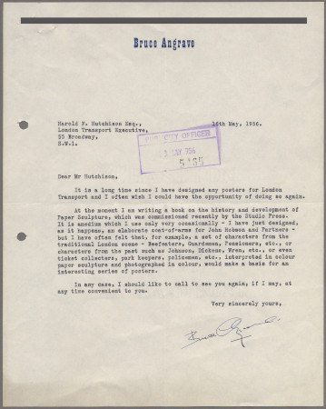 Related object: Letter; from Bruce Angrave to Harold Hutchison enquiring about work, 16 May 1956