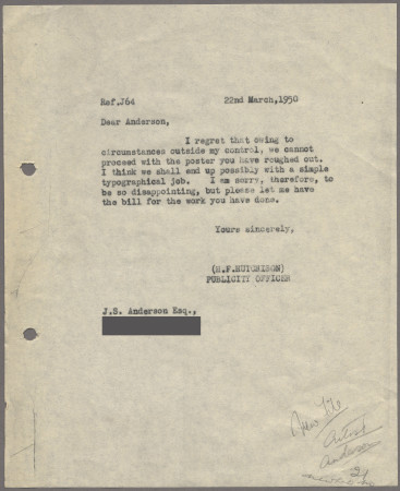 Related object: Letter; from Harold Hutchison to J S Anderson explaining why his poster design will not be used, 22 March 1950