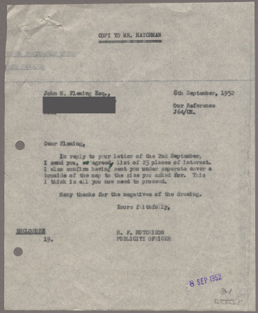 Related object: Letter; from Harold Hutchison to John Fleming, 8 Sep 1952