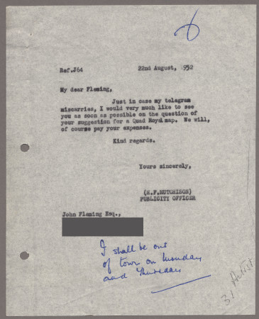 Related object: Letter from Harold Hutchison to John Fleming, 22 Aug 1952