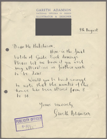 Related object: Letter; from Gareth Adamson to Harold Hutchison about designs for the London Guide book, 9 August 1952