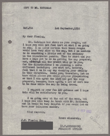 Related object: Letter; from Harold Hutchison to John Fleming, 1 Sep 1952