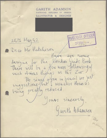 Related object: Letter; from Gareth Adamson to Harold Hutchison about designs for the London Guide book, 27 May 1952
