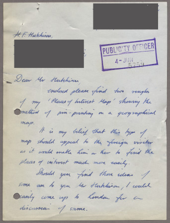 Related object: Letter; from John Fleming to Harold Hutchison, 1 Jun 1952