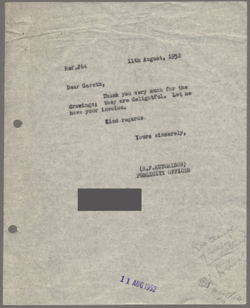 Related object: Letter; from Harold Hutchison to Gareth Adamson about his designs for the London Guide book, 11 August 1952