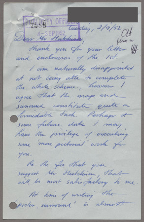 Related object: Letter; from John Fleming to Harold Hutchison, 2 Sep 1952