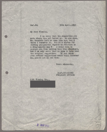 Related object: Letter; from Harold Hutchison to John Fleming, 30 April 1952