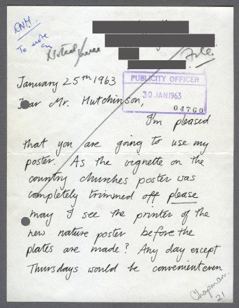 Related object: Letter; from Gaynor Chapman to Harold Hutchison asking to meet with the printer before her next poster is printed, 25 Jan 1963