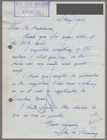Related object: Letter; from John Fleming to Harold Hutchison, 11 May 1952