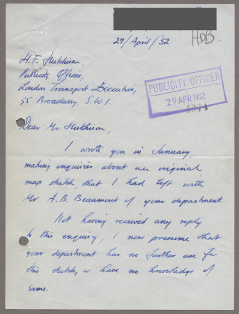 Related object: Letter; from John Fleming to Harold Hutchison, 27 Apr 1952