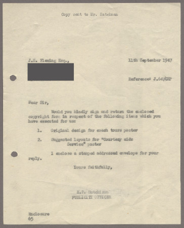 Related object: Letter; from Harold Hutchison to John Fleming, 11 Sep 1947