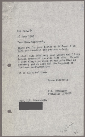Related object: Letter; from Harold Hutchison to Mrs E E Glasscock, 28 Jun 1965
