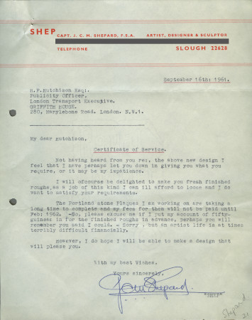 Related object: Letter; from Charles Shepard (Shep) to H. F. Hutchison, 16 September 1961