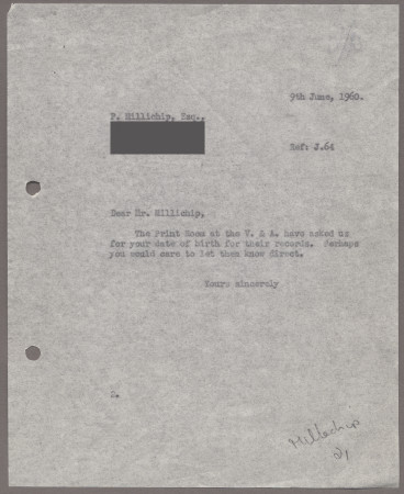 Related object: Letter; from Harold Hutchison to Paul Millichip about his date of birth, 9 June 1960