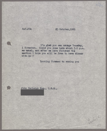 Related object: Letter; from Harold Hutchison toJohn Farleigh, 25 Oct 1960