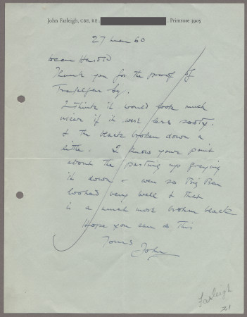 Related object: Letter; from John Farleigh to Harold Hutchison, 26 May 1960