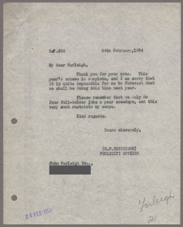 Related object: Letter; from Harold Hutchison toJohn Farleigh, 24 Feb 1954