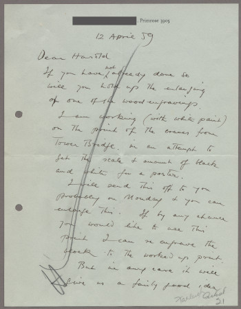 Related object: Letter; from John Farleigh to Harold Hutchison, 12 Apr 1959