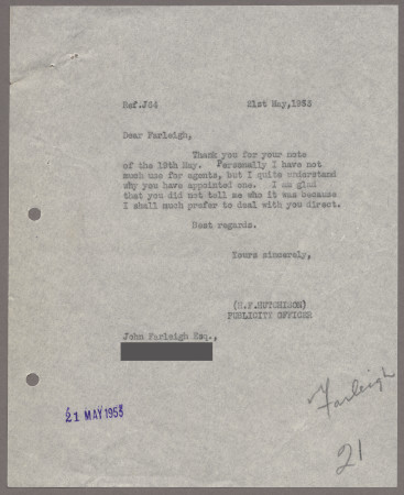 Related object: Letter; from Harold Hutchison toJohn Farleigh, 21 May 1953