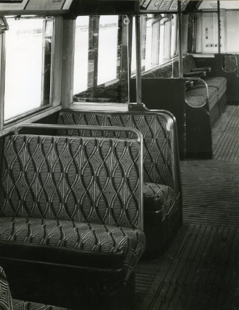 B/w print; 1938 tube stock interior; seats  upholstered in moquette with enid  marx