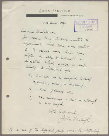 Related object: Letter; from John Farleigh to Harold Hutchison, 23 Feb 1954