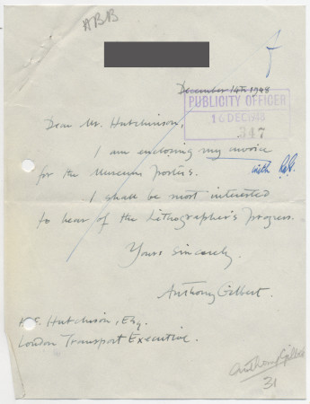 Related object: Letter; from Anthony Gilbert to Harold Hutchison about design for museum leaflet, 16 December 1948