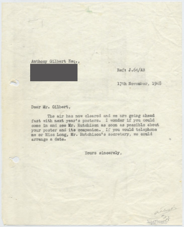 Related object: Letter; from Harold Hutchison to Anthony Gilbert about his poster design, 17 November 1948