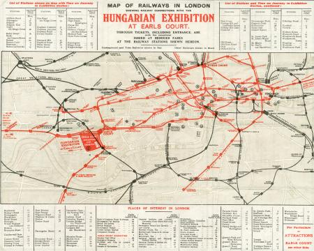 Related object: Map; Pocket Underground map All Lines Lead to the Hungarian Exhibition, issued by District Railway, 1908