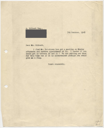 Related object: Letter; from Harold Hutchison to Anthony Gilbert about his poster design, 7 October 1948