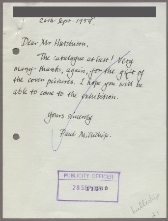 Related object: Letter; from Paul Millichip to Harold Hutchison about an exhibition of his paintings, 26 September 1959