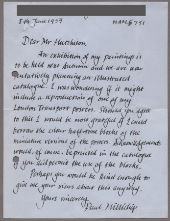 Related object: Letter; from Paul Millichip to Harold Hutchison about an exhibition of his paintings, 8 June 1959