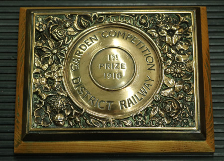Presentation plaque; plaque inscribed Garden Competition District Railway 1st prize 1916