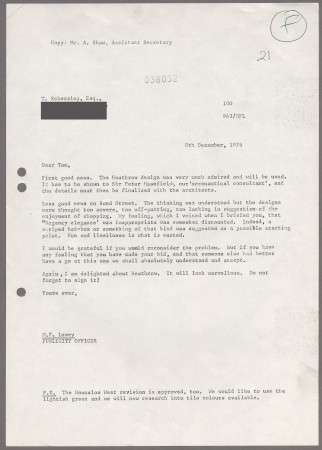 Related object: Letter; from Michael Levey to Tom Eckersley regarding motif for Heathrow Station, 8 December 1976
