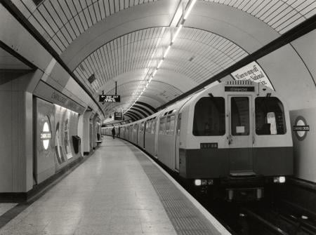 Related object: b/w neg, Jubilee line platform 3 at Charing Cross Underground station by Colin Tait, 18 Apr 1986