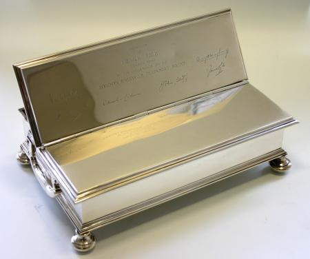 Hallmarked silver ink stand, presented to frank pick, 17 may 1940