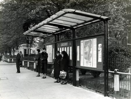 B/w print; a bus shelter at turnham green by topical press, aug 1939