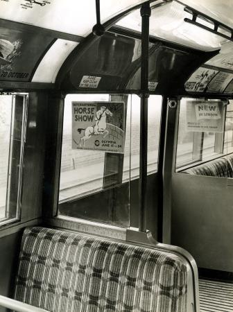 B/w print; 1938 tube stock, interior of  a trailer car, topical press, 1939