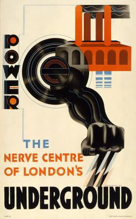 Poster; Power - the nerve centre of Londons Underground, by Edward McKnight Kauffer, 1931
